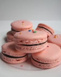 French Macarons Delicious French macarons filled with dark chocolate ganache or vanilla bean ganache. Additional macaron and filling flavors available upon request.
